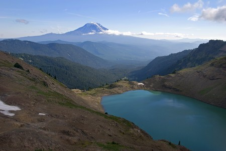 Goat Lake, with Mount Adams in the distance. Stock Photo - 4039494