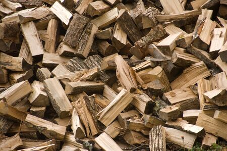 energy use: Pile of wood chopped and ready for the fireplace