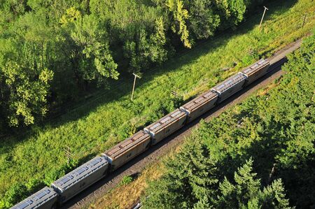 freight train: Freight train seen traveling through a forested valley