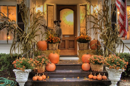 Porch of a house decorated for halloween