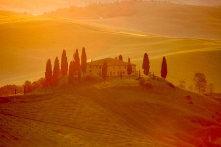 Early-morning light on an Italian villa in the Tuscany region of Italy. Stock Photo