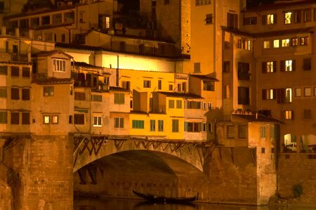 Ponte Vecchio bridge by night, Florence Italy. Stock Photo