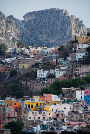 Guanajuato, Mexico, with mountains in the background.