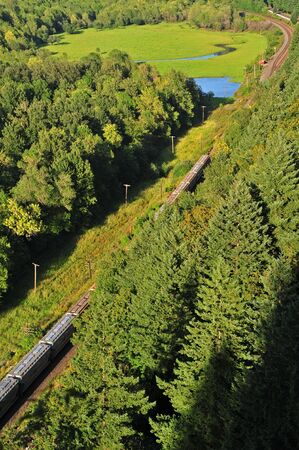 Freight train seen traveling through a forested valley