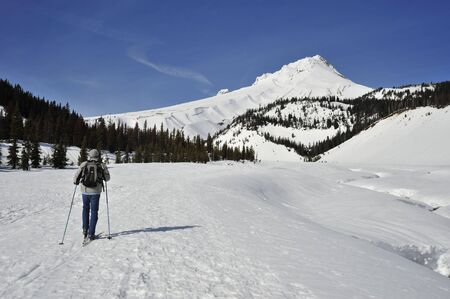Nordic skier on a trail near a snow-covered mountain. The mountain is Mt. Hood in Oregon.