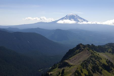 oregon cascades: Mount Adams surrounded by clouds in early morning light