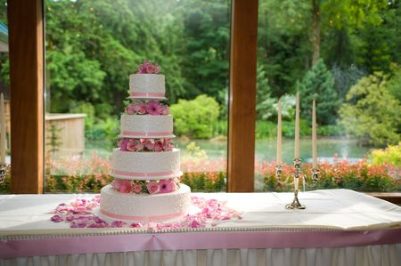 Rose petals spread around a multi-tiered wedding cake, by a window with a view. Stock Photo