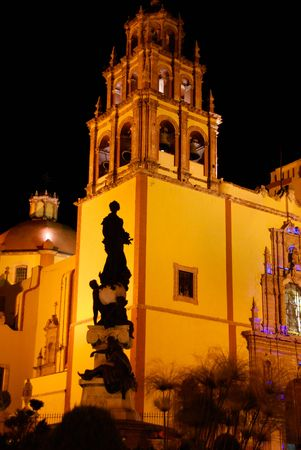 Silhouette of a statue outside the main cathedral in Guanajuato, Mexico Stock Photo