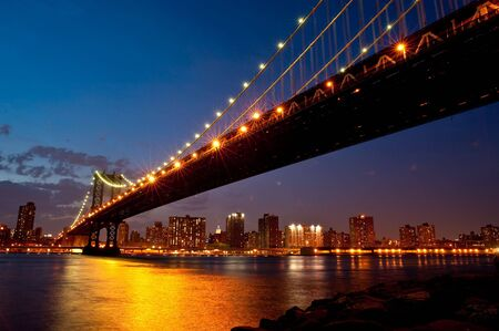 View of the Manhattan Bridge in late evening. Stock Photo