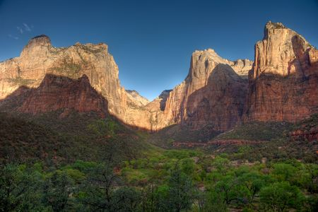 zion: Court of the Patriarchs, in Zion National Park, Utah Stock Photo