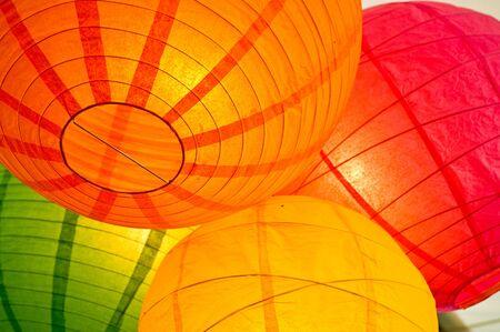 Group of paper lanterns hanging together