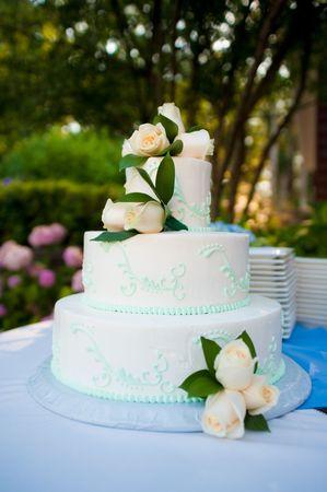 to cake layer: Multistrato torta nuziale bianco con rose