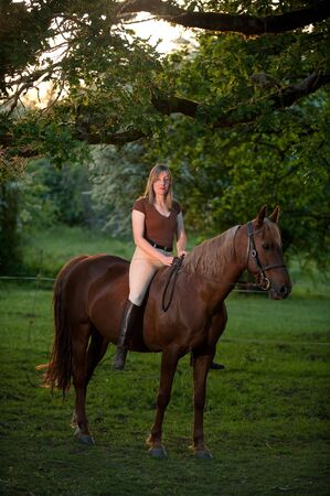Woman sitting on a quarter horse photo