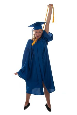 Teen girl in a graduation gown choking herself with the honor cord