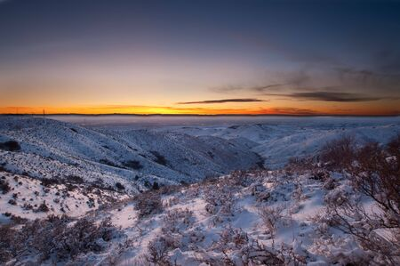 Sunset near Boise Idaho snow on the ground 写真素材