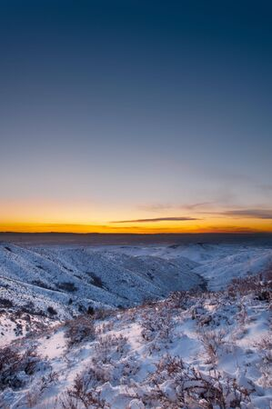 Sunset near Boise Idaho snow on the ground Stock Photo