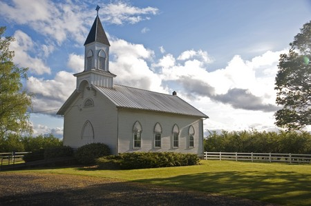 Old clapboard white rural church in Willamette Valley, Oregon, Oak Grove