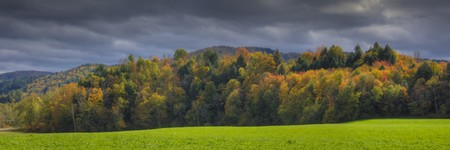 autumn colour: Tree covered hills in autumn, a New England scene