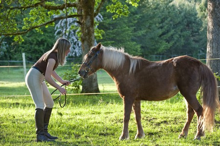 horse blonde: Woman bonding and being affectionate with shetland pony Stock Photo