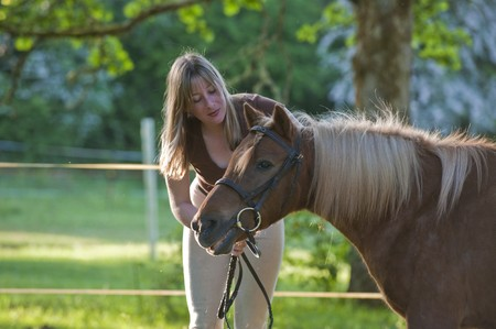 Woman bonding and being affectionate with shetland pony 스톡 콘텐츠