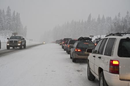 Traffic jam on a snowy road