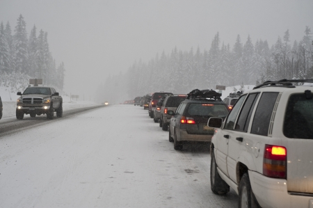 winter storm: Traffic jam on a snowy road