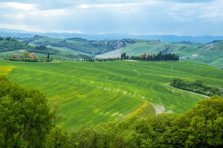 Rural countryside landscape in Tuscany region of Italy. photo