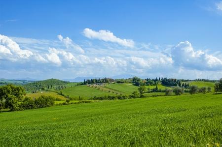 Paisaje de campo rural en la región Toscana de Italia.