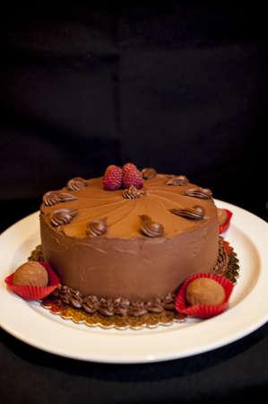 Beautiful chocolate cake on a white plate