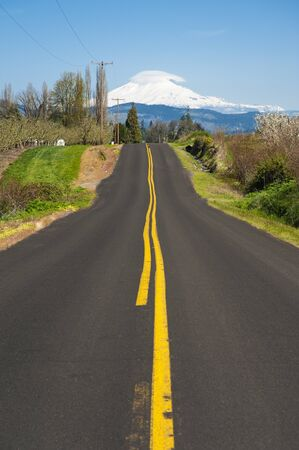 Rural road through Hood River Valley, Mt  Adams in background Stock Photo - 13533656