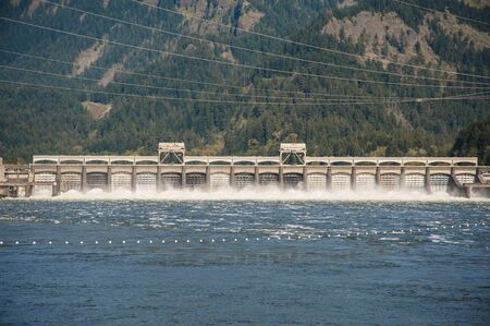 Water spilling from Bonneville Dam, Columbia River