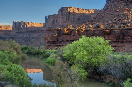 Early morning light on the Green River in Utahs canyonlands photo