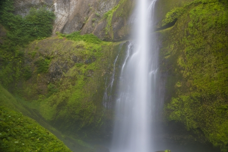 Multnomah Falls, Columbia River Gorge, water blurred in motion photo