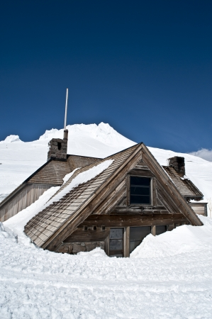 Silcox Hut on Mount Hood, Oregon, covered in deep snow