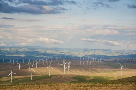 Landscape with wind turbines, Washington State photo