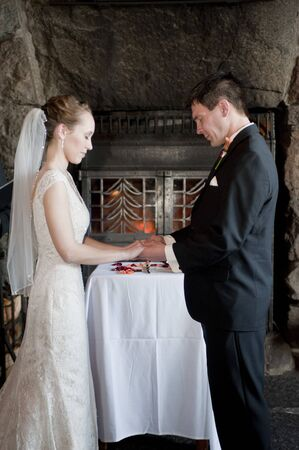 wedding vows: Newlyweds holding hands, saying wedding vows