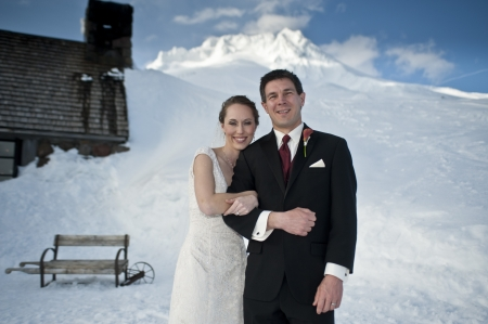 Bride and groom in winter snow on mountain Stock Photo - 17265028