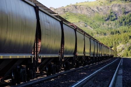 철도 사이딩에 주차 된 호퍼 차가있는 긴화물 열차