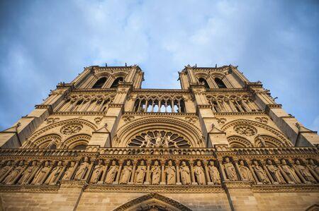 steeples: Evening light shining on Notre Dame steeples