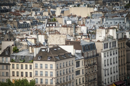 parisian scene: Paris rooftops seen from tower of Notre Dame