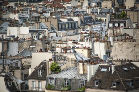 Paris rooftops seen from tower of Notre Dame
