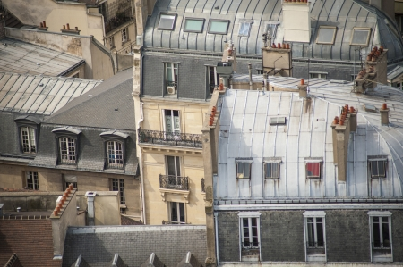 Paris rooftops seen from tower of Notre Dame Stock Photo - 18240485
