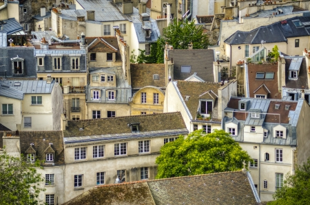 Paris rooftops seen from tower of Notre Dame Stock Photo - 18240543