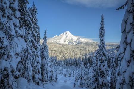Mount Hood covered in winter snow, Oregon Stock fotó