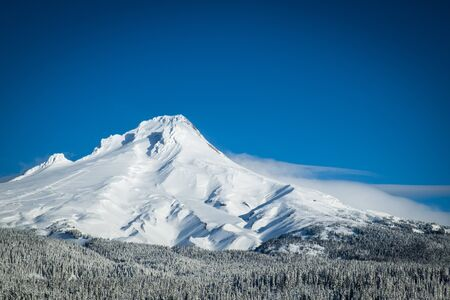 Mount Hood covered in winter snow, Oregon photo