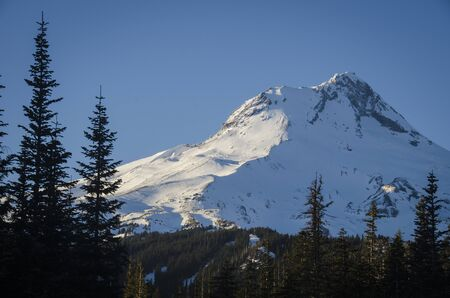 Mount Hood covered in winter snow, Oregon
