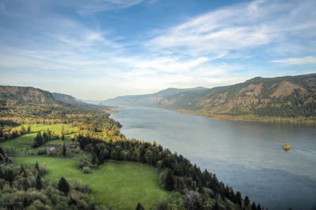 northwest: View of Columbia River Gorge in the Pacific Northwest Stock Photo