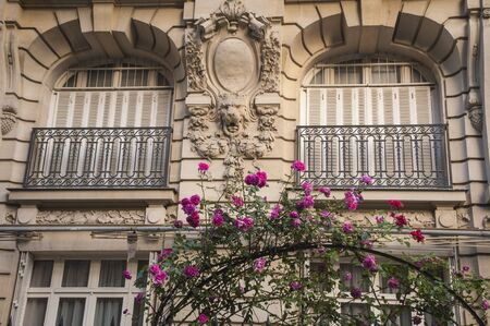 Traditional style apartment buildings in Paris photo