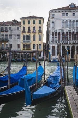 Gondolas docked in Venice, Italy Stock Photo - 18535144