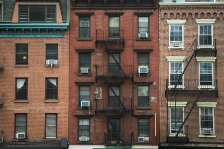 Old apartment buildings and fire escapes, New York City